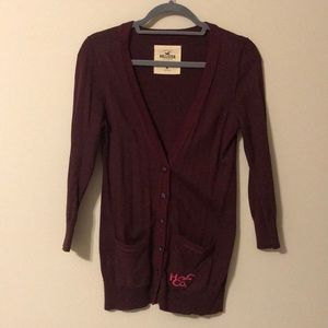 Maroon Hollister Button Up Cardigan